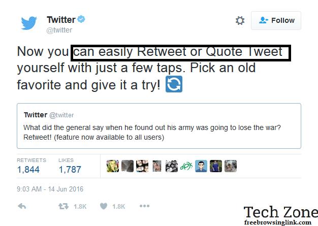 u can now retweet ur tweets