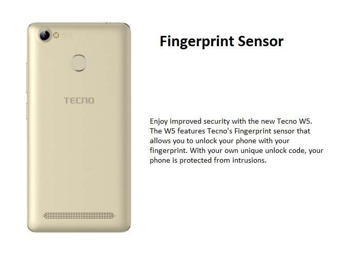 tecno w5 fingerprint scanner