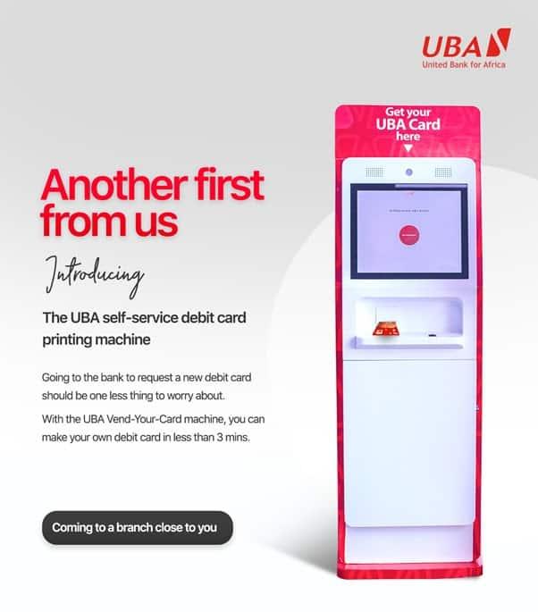 uba self service debit card printing machine