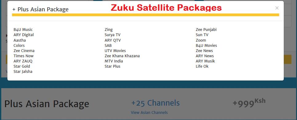 zuku asian packages