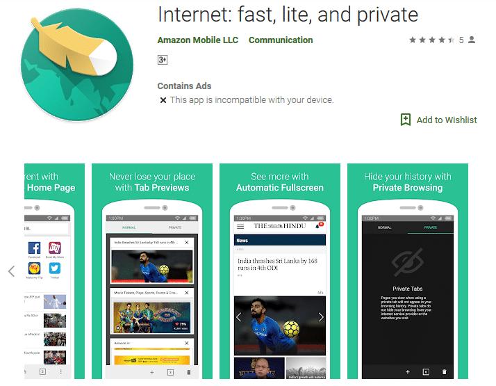 Amazon internet browser
