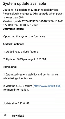 infinix face unlock feature