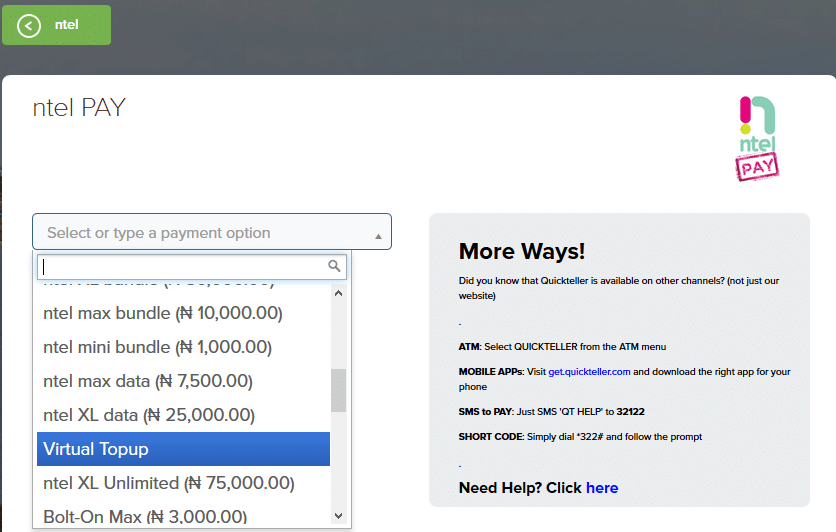 how to buy ntel plan with quickteller