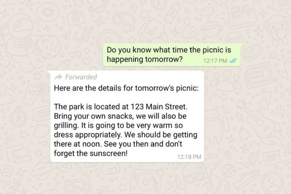 whatsapp label forwarded message