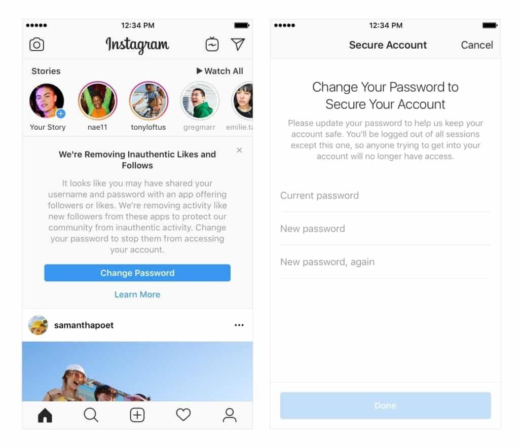instagram change password