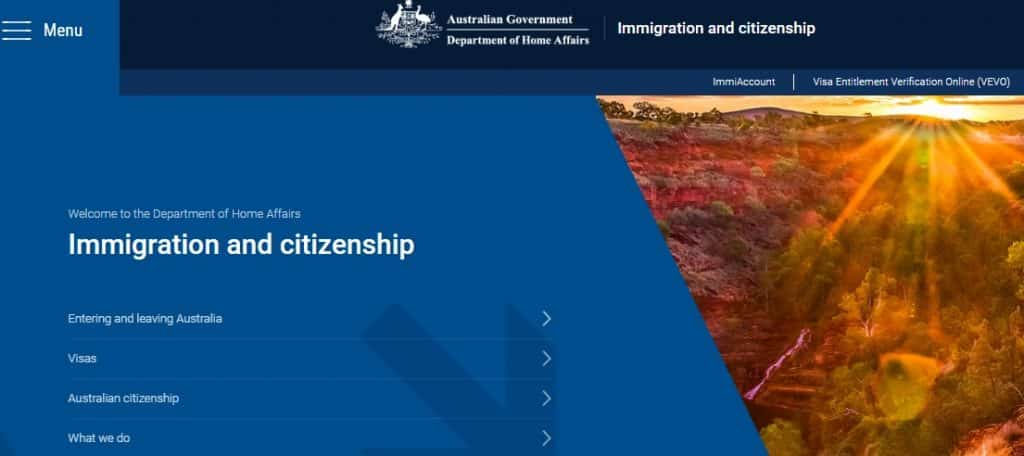 department of home affairs for visa