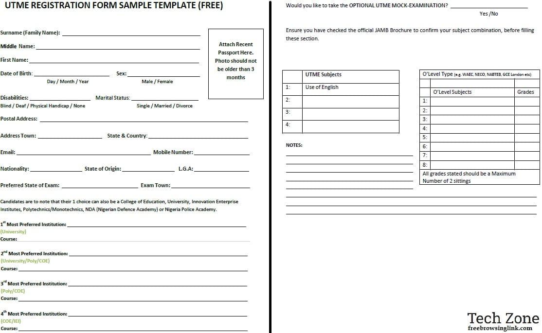 jamb registration form template