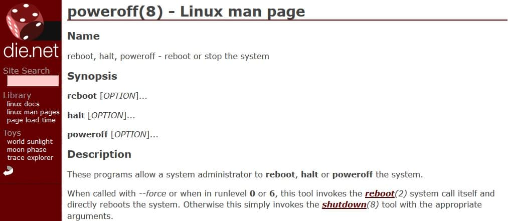 linux poweroff