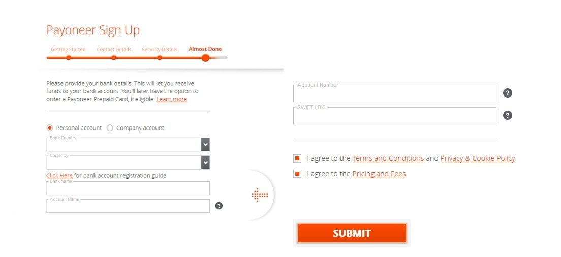 Payoneer complete registration