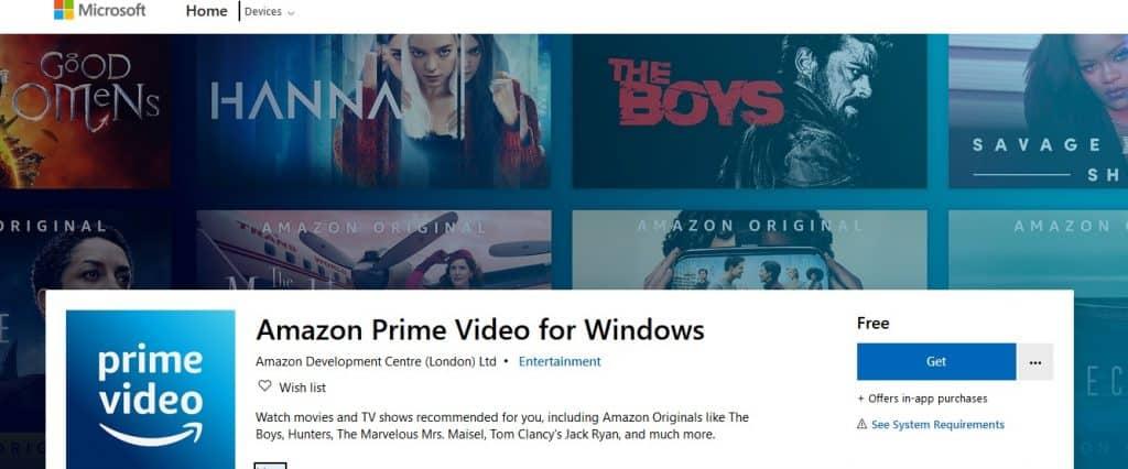 Amazon Prime Video app for Windows 10