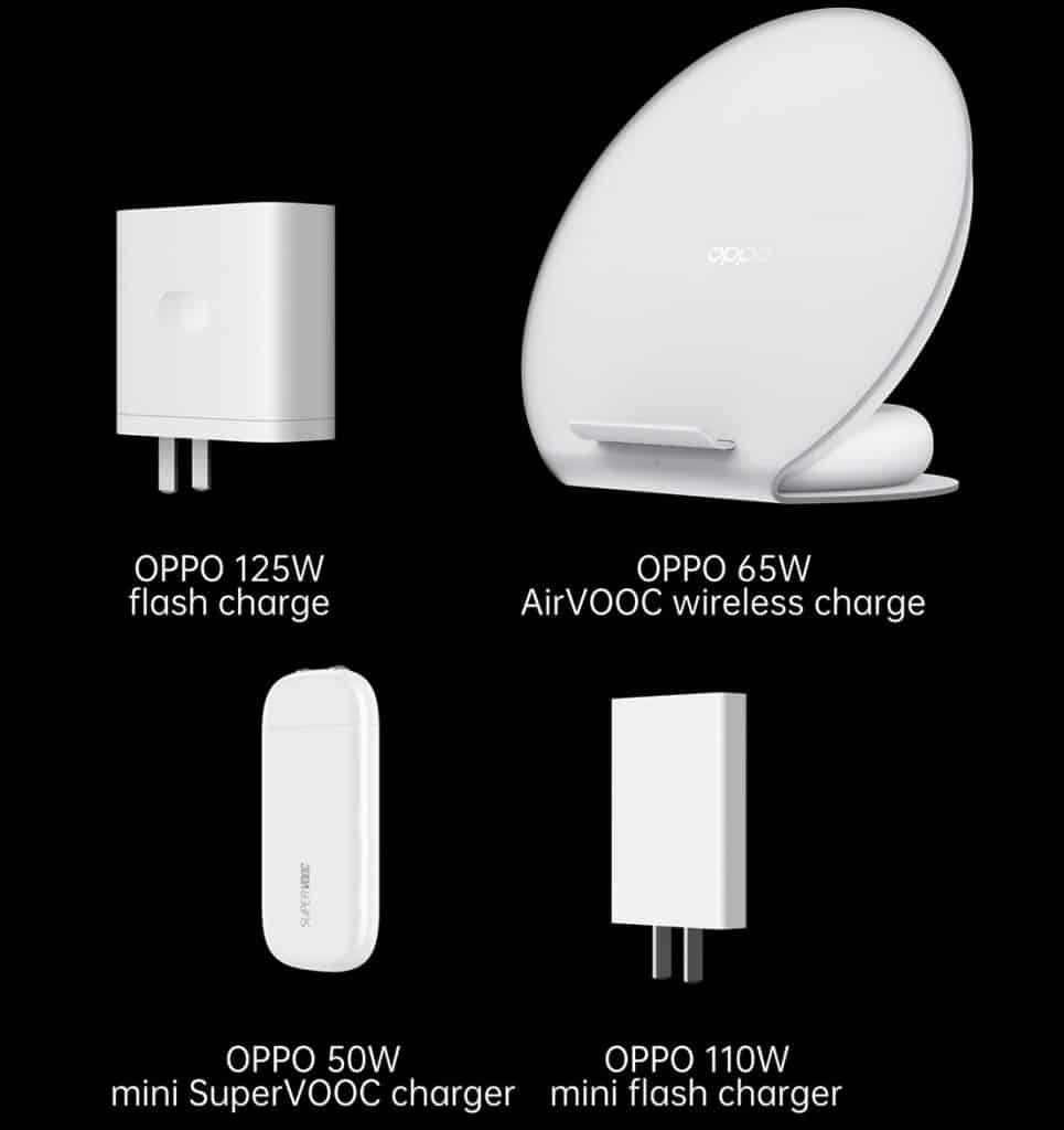 OPPO 125W flash charge 65W AirVOOC 50W and mini SuperVOOC