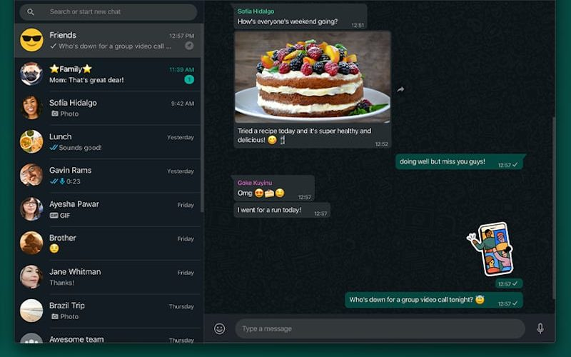 whatsapp dark mode on desktop