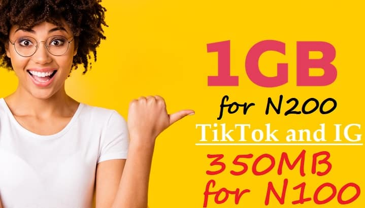 MTN TikTok and Instagram 1GB for N200 and 350MB for N100