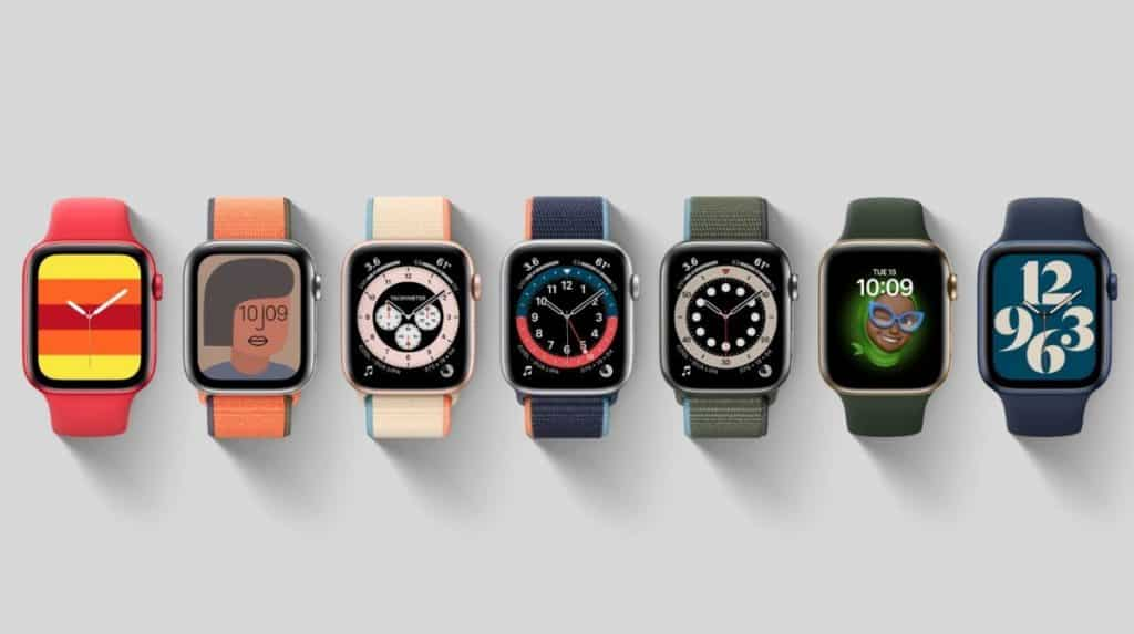 Apple Watch Series 6 with seven watch faces