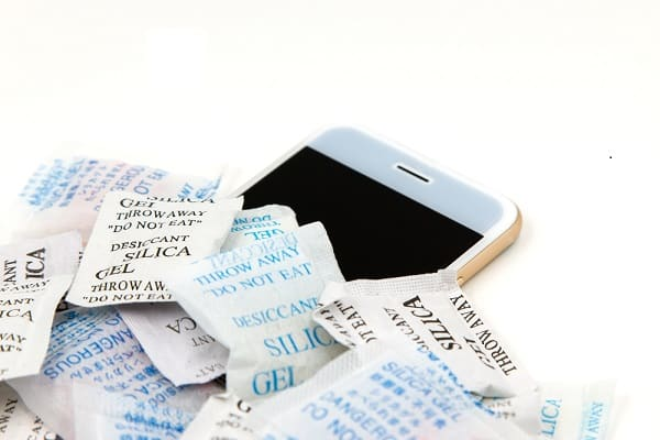 phone inside silica packets