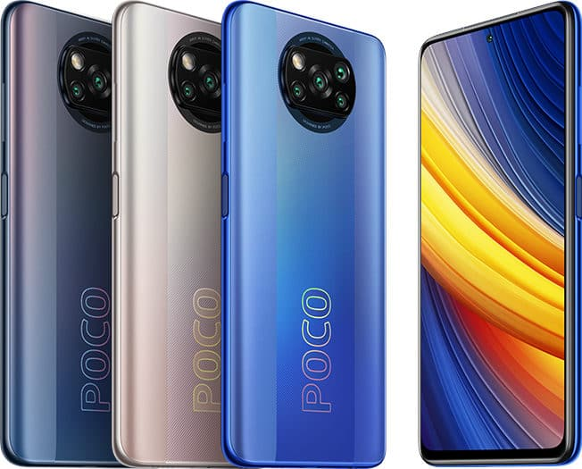 Poco X3 Pro in Phantom Black, Frost Blue and Metal Bronze colours