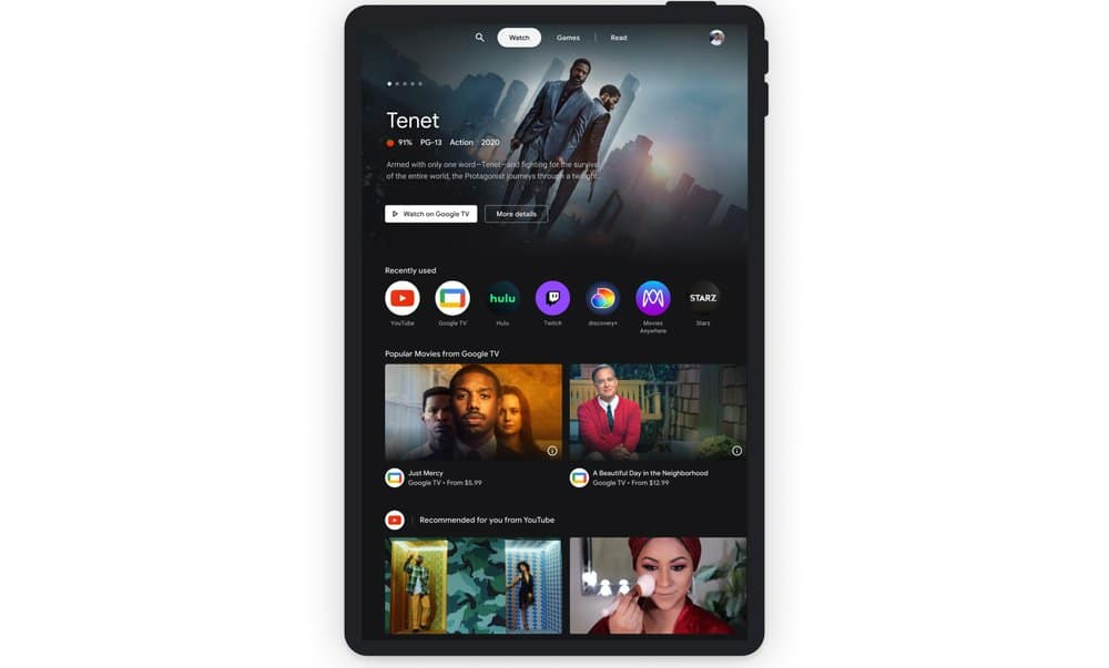 Google's Entertainment Space Watch Tab