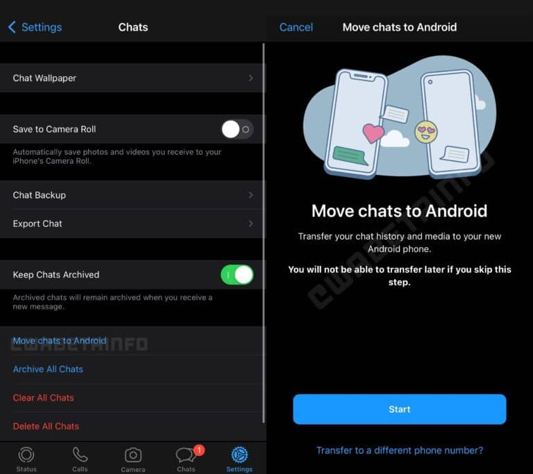 WhatsApp for iOS chat history transfer to Android
