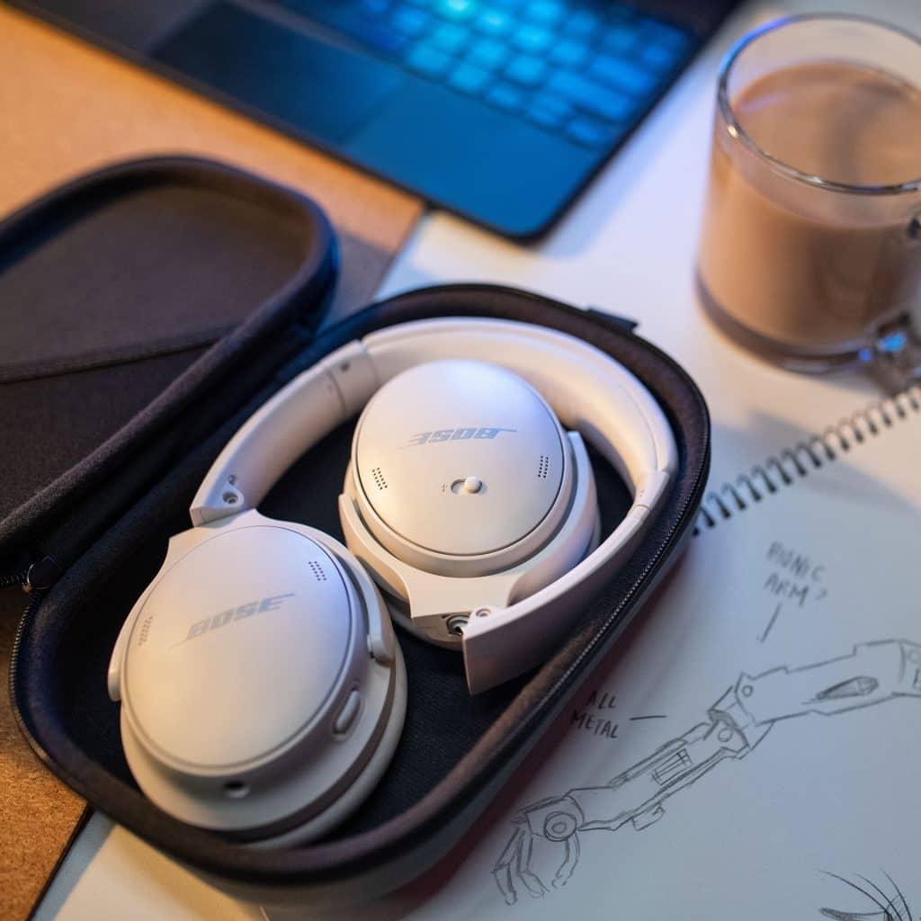 Bose QuietComfort 45 headphones with case