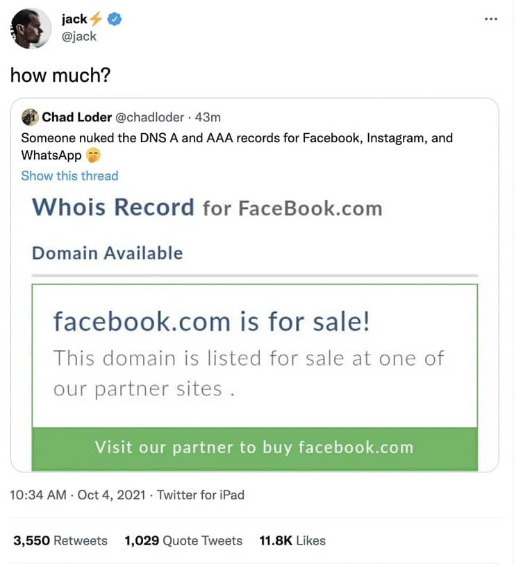 Facebook domain is for sale