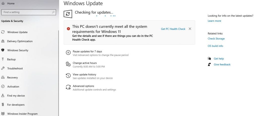 Windows 11 OS update check